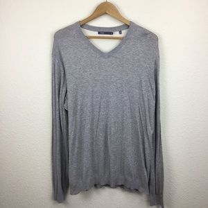 Vince Mens Gray V Neck Mesh Back Sweater Size XL